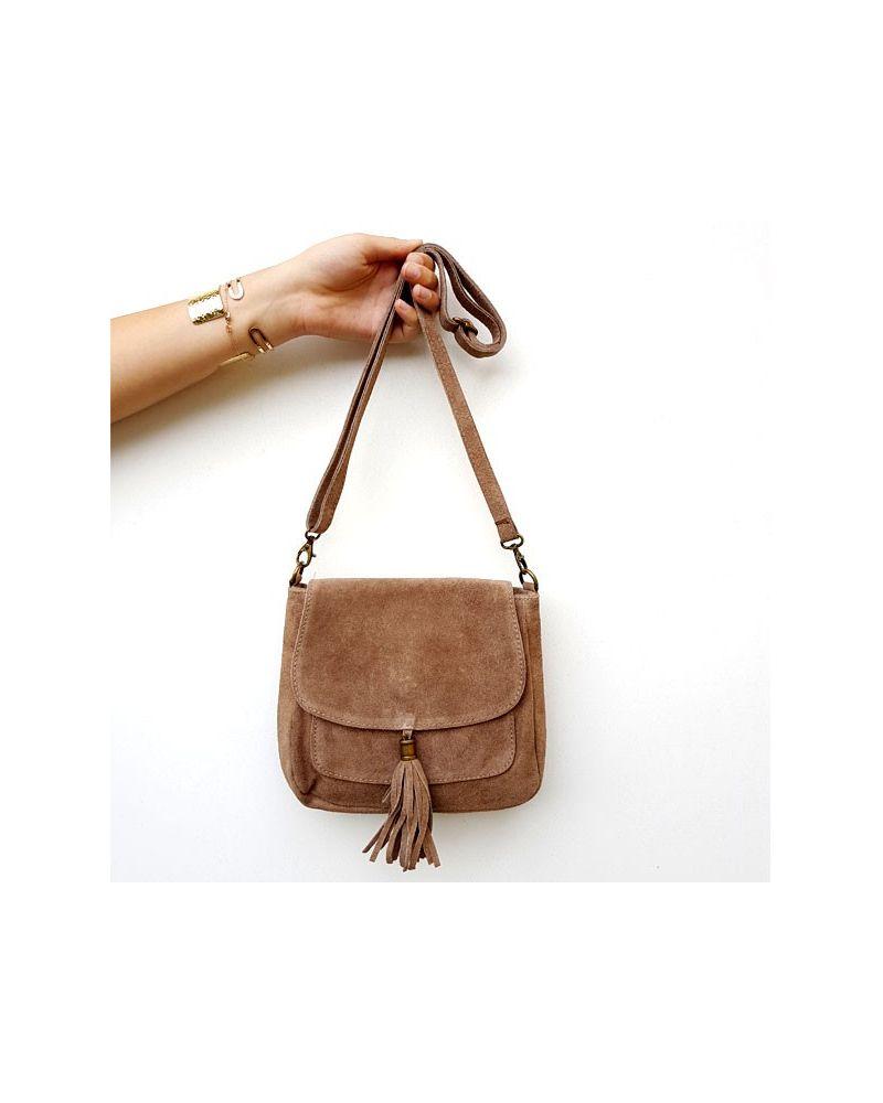 Petit sac besace daim taupe