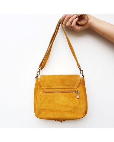 Petit sac besace daim moutarde