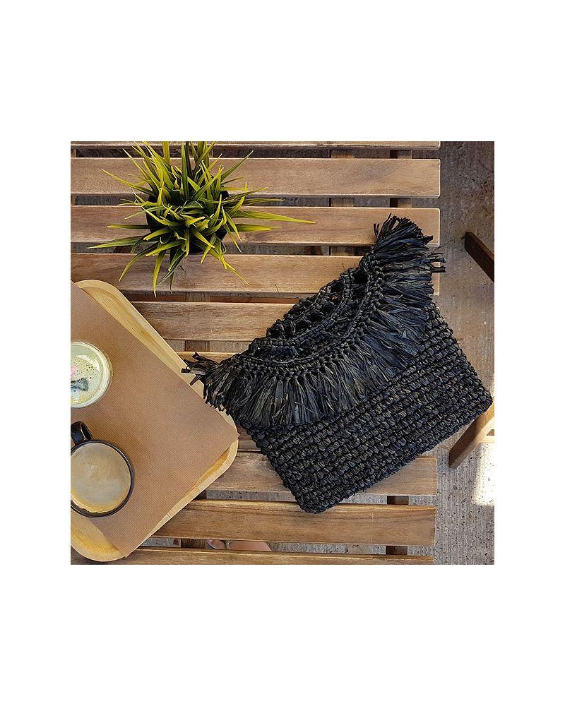 Pochette paille naturelle noire déco franges