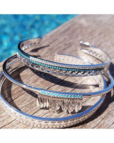 Bracelet jonc argent 925 & turquoise