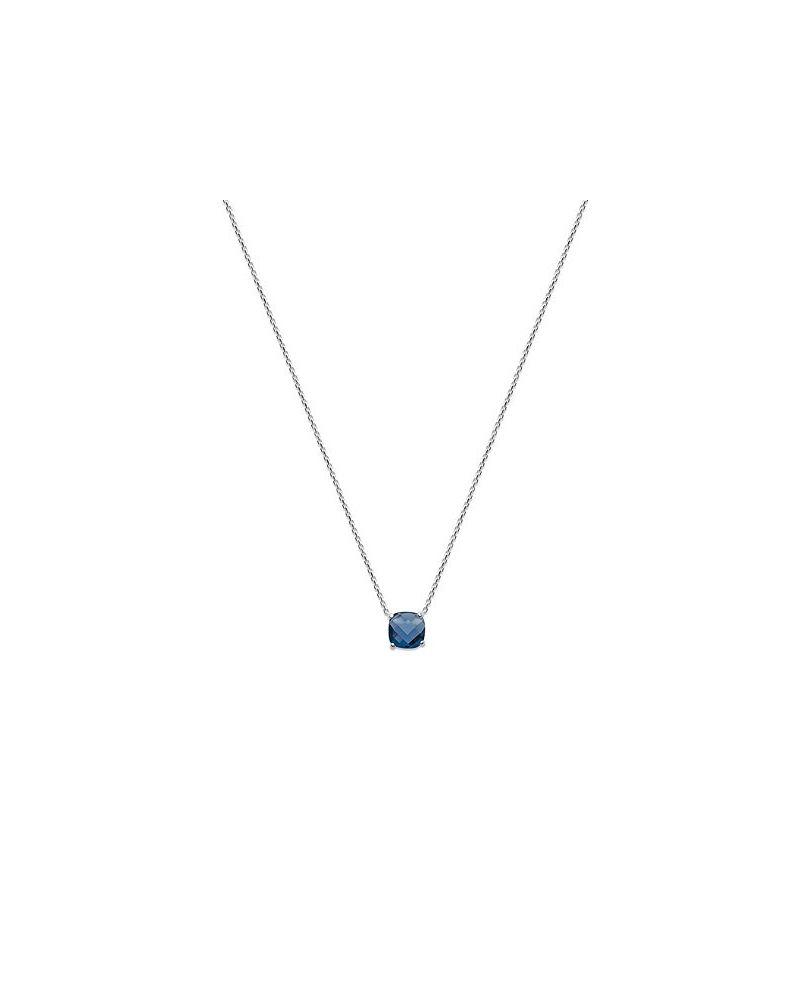 Collier argent pendentif zircon bleu nuit