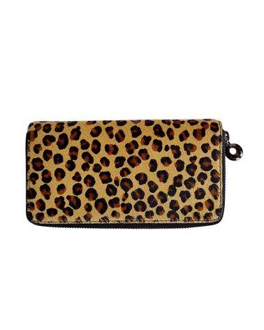 Portefeuille cuir imprimé léopard