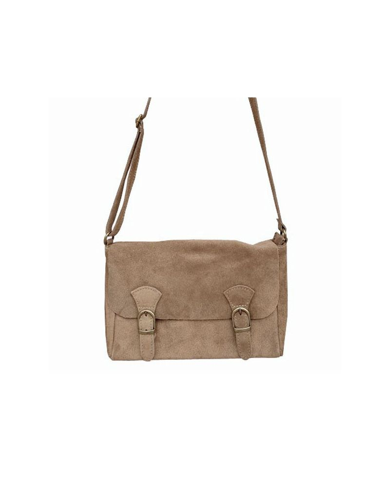 07904a4881 Sac daim forme besace attache cartable style old school couleur taupe
