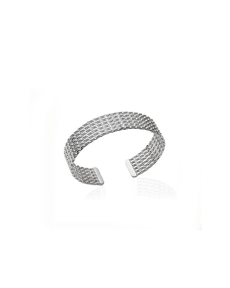 Jonc argent maille chaines