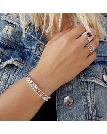 Bracelet jonc ajouré motif triangles en argent 925