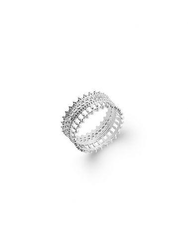 Bague anneau argent dentelle