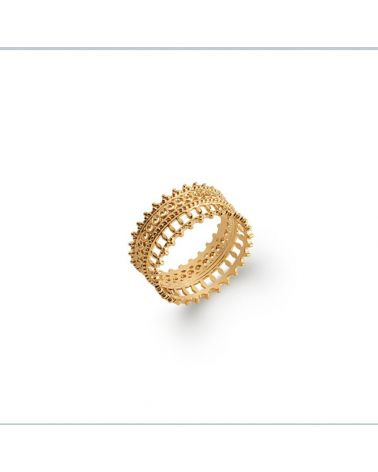 Bague anneau plaqué or dentelle