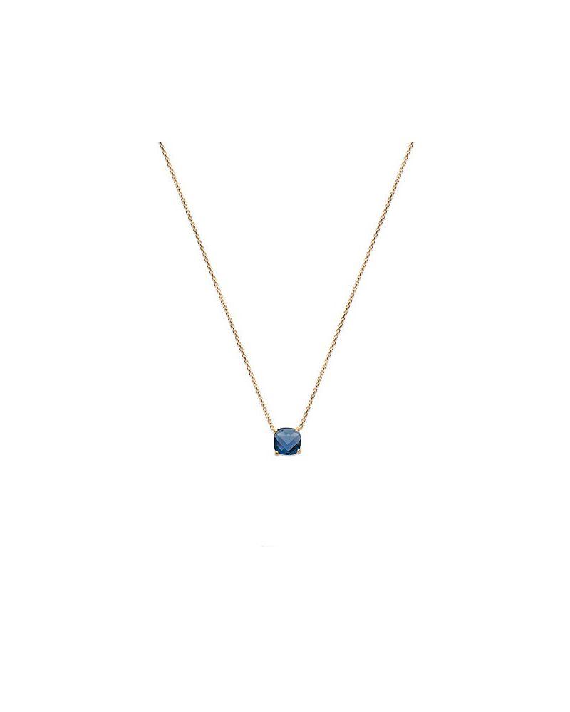 Collier ras de cou or pierre bleu saphir