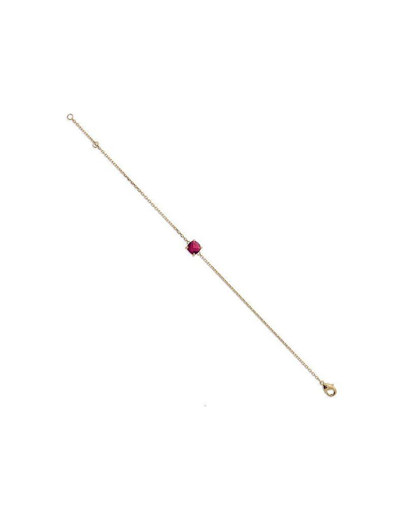 Bracelet chaine plaqué or pierre rouge