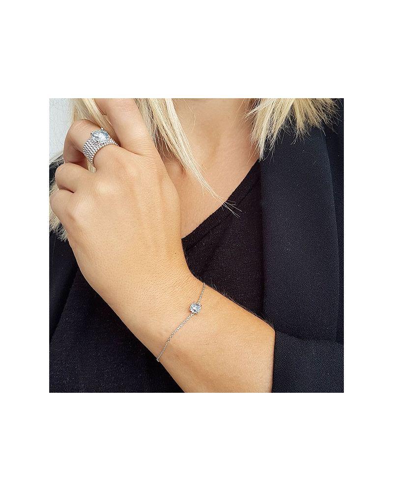 Bracelet argent chaine pierre aigue marine