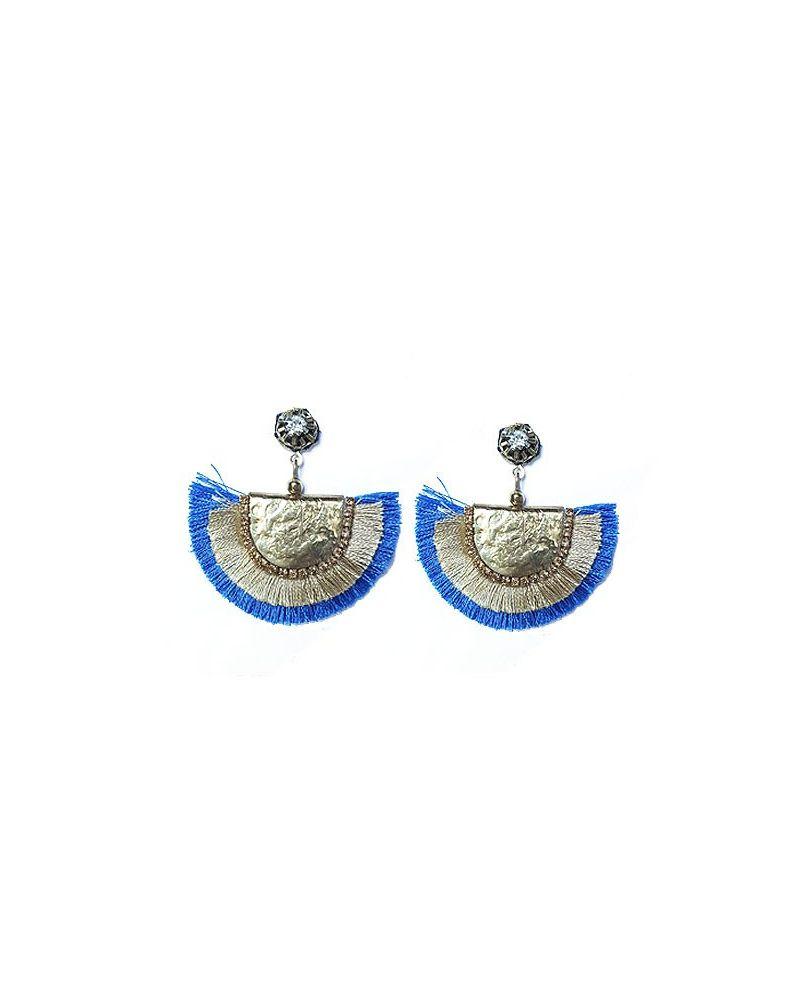 Boucles d'oreilles eventail franges bleu