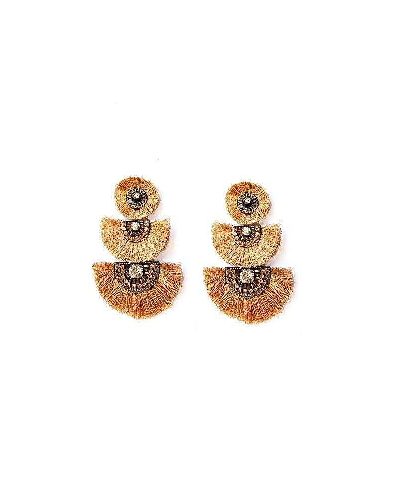 Boucles d'oreilles 3 eventails doré