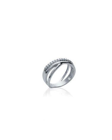 Bague argent anneaux croisés zircon