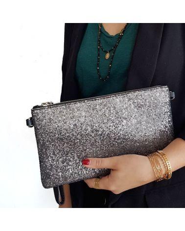 Pochette glitter gris noir
