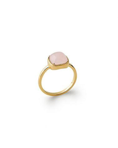 Bague plaqué or quartz rose