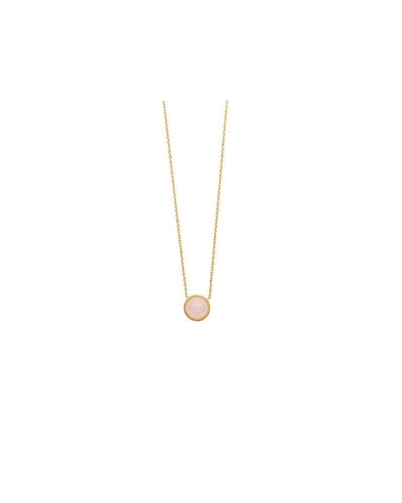 Collier plaqué or pendentif quartz rose