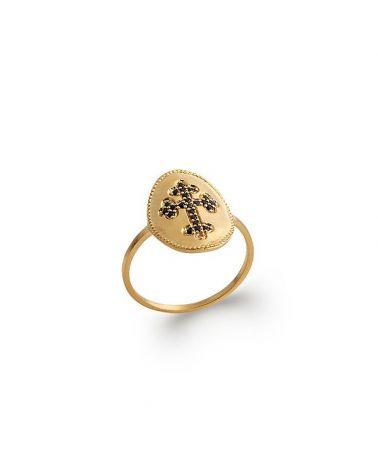 Bague plaqué or croix