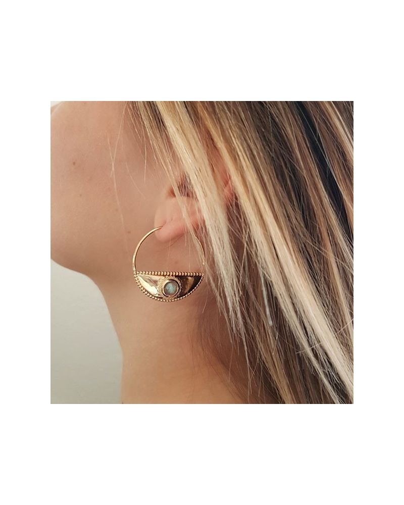 Boucles d'oreilles créoles labradorite