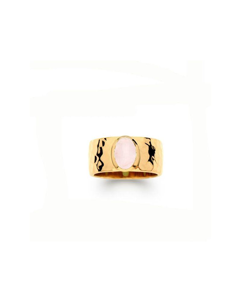 Bague plaqué or pierre ovale rose