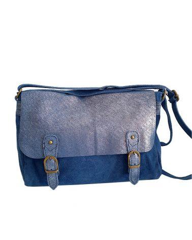 Besace daim bi matière bleu jean