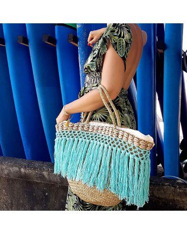Panier de plage bohème