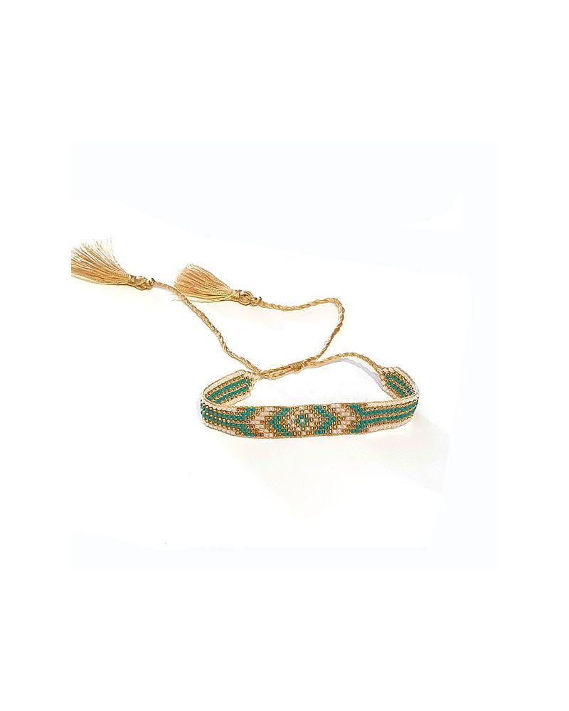 Bracelet perles japonaises turquoise doré