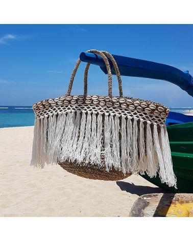Panier de plage boho frangés blanc