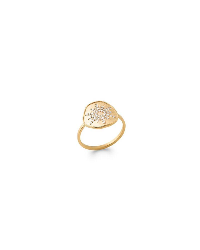 Bague plaqué or soleil zirconium