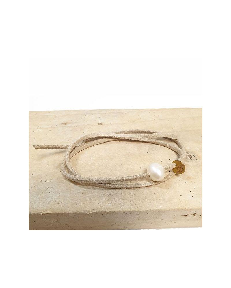 Bracelet perle culture lien beige clair