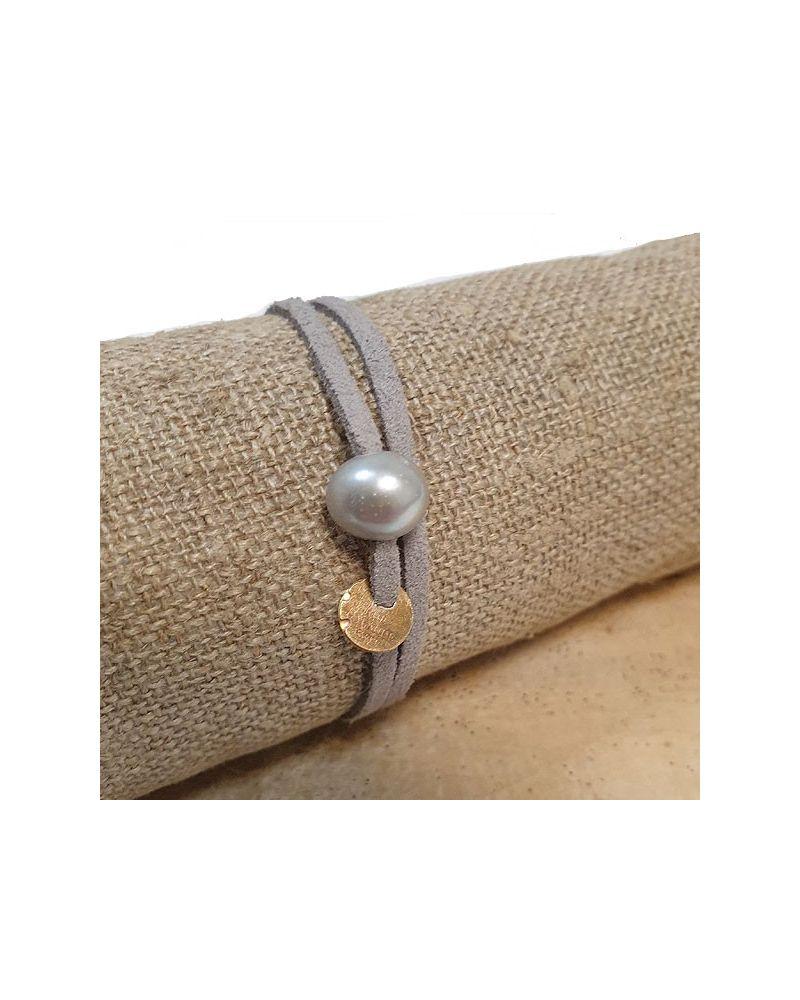 Bracelet perle culture lien gris