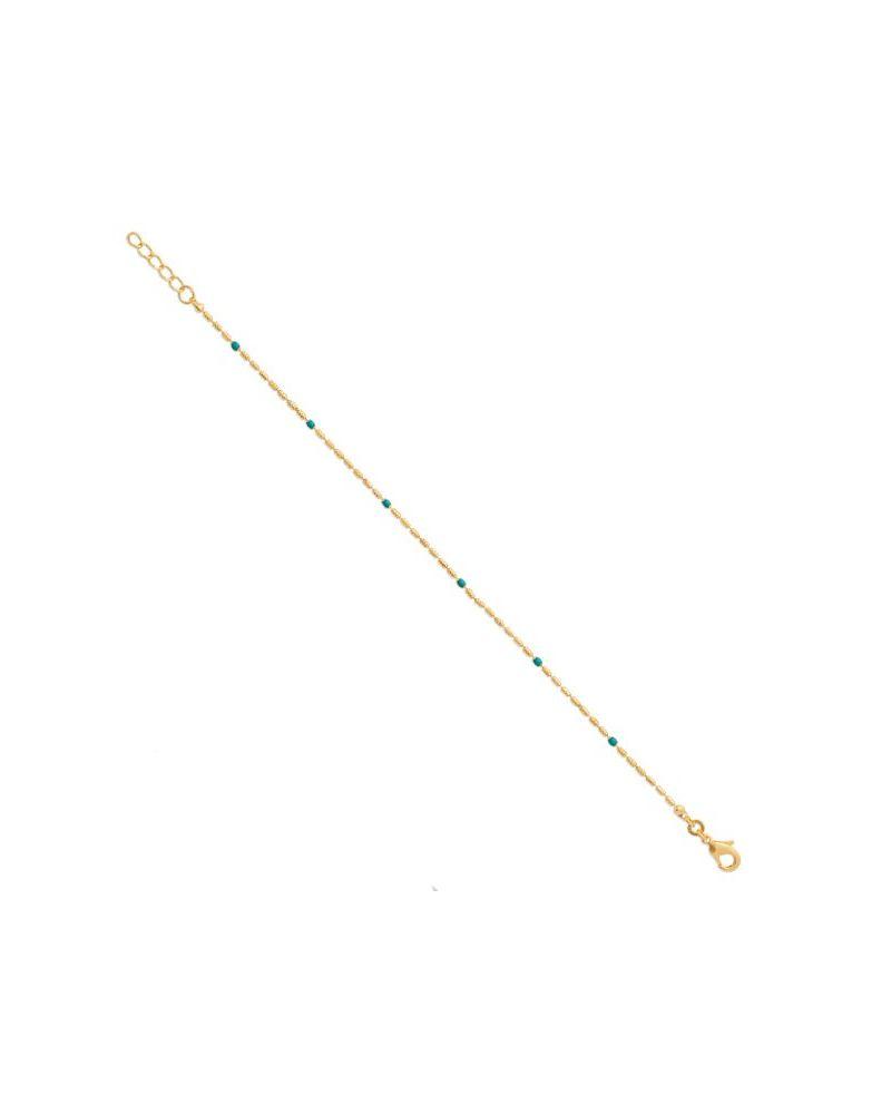 Bracelet fin plaqué or émail vert