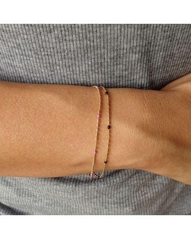 Bracelet fin plaqué or émail fushia