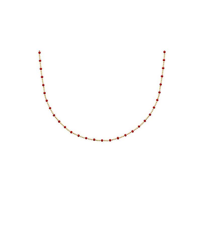 Collier ras de cou perles émail rouge
