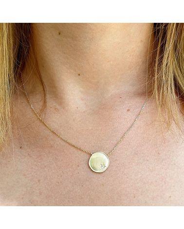 Collier plaqué or pendentif brossé zirconia
