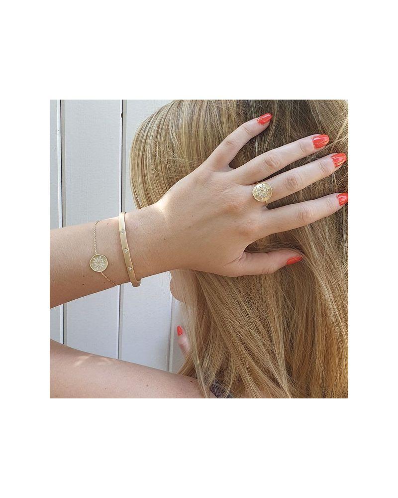 Bracelet  chaine médaille soleil