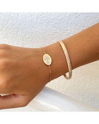 Bracelet médaillon croix zircon blanc
