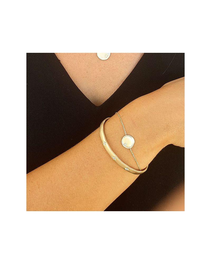 Bracelet médaille étoile zirconia blanc