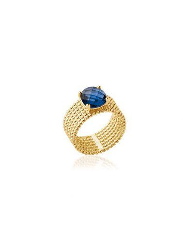 Bague plaqué or pierre bleue