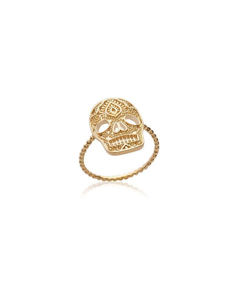 Bague Skull plaqué or