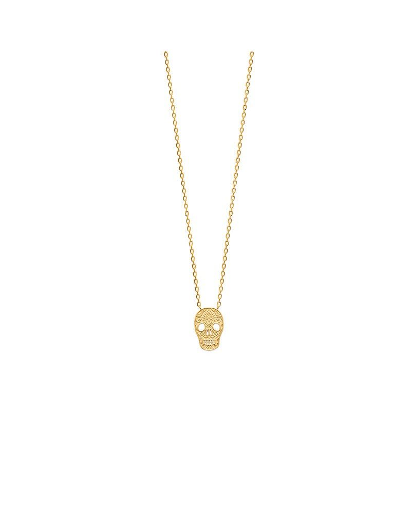 Collier Skull plaqué or