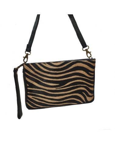 Pochette cuir imprimé tigre