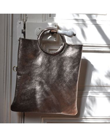 Sac cuir métallisé bronze