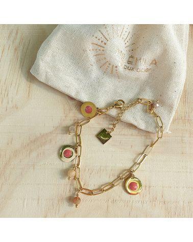 Bracelet doré quartz rose