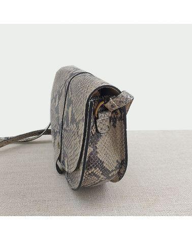 Sac cuir à bandoulière, effet peau serpent