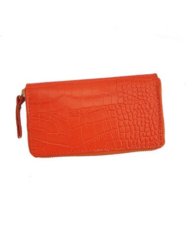 Portefeuille cuir orange