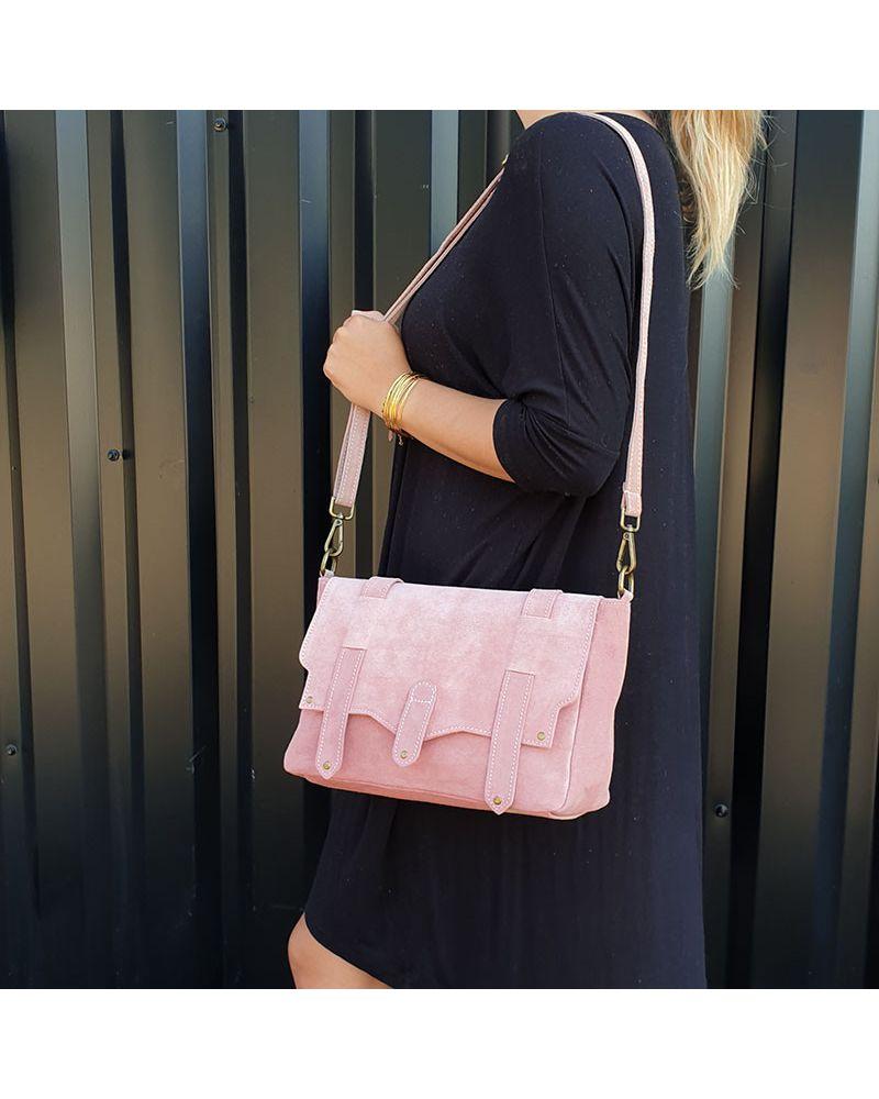 sac bandoulière daim rose