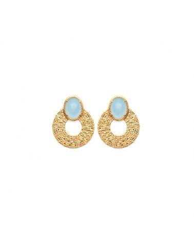Boucles d oreilles or agate bleue