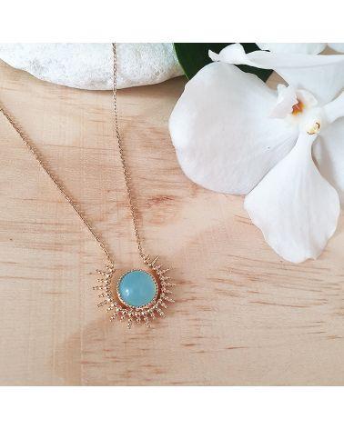 collier or soleil agate bleue