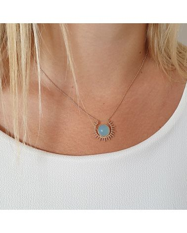 collier or soleil agate bleue