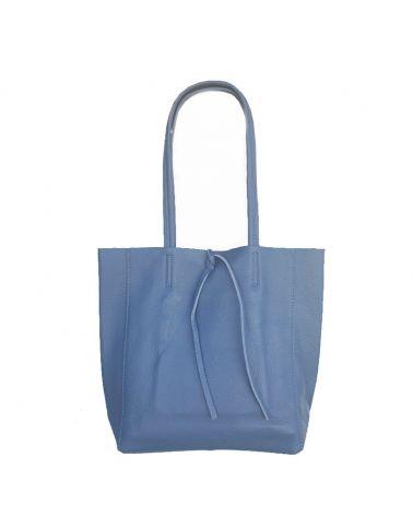 sac shopper cuir bleu jeans